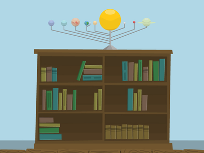 Planets / Bookshelf illustration planets bookshelf solar system