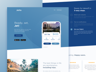 Jetto Marketing Page flight app branding monochrome marketing uidesign travel app travel flights campaign android ios landing page