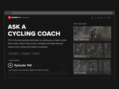Podcast Landing Page branding dark landing page cycling web podcast