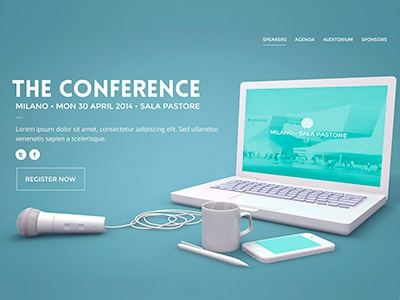 The Conference Landing Page for Pixeden web 3d design landing page