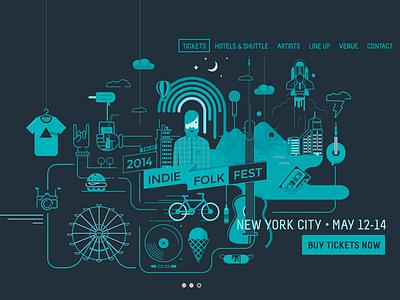Indie Folk Fest by PIXEDEN web design and illustration