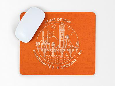Zome Design mouse pad mouse pad clock tower line art bridge mountain river washington spokane photography art illustration design