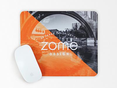 Zome mouse pad - 2 mouse pad river bridge zome orange washington spokane art design typography