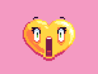 Scared pixel art heart emoji