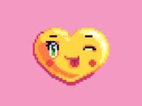 Winking pixel art emoji