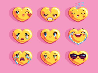 Pixel art heart emoji set