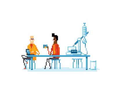 Pixel art laboratory guys