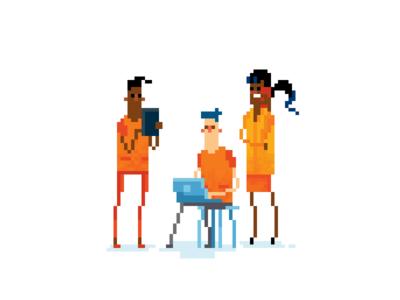 Modern meeting in pixel art