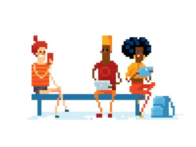 Modern party in pixel art