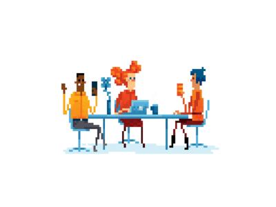 Business people in pexel art.