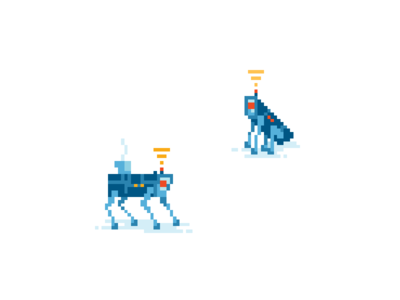 Robodogs from a pixel art illustration