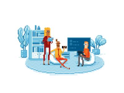 Office people in pixel art