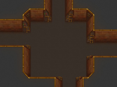 Steampunkish dungeon sci-fi seamless top-down rpg game artist game art game tileset tiles tubes steam punk steampunk