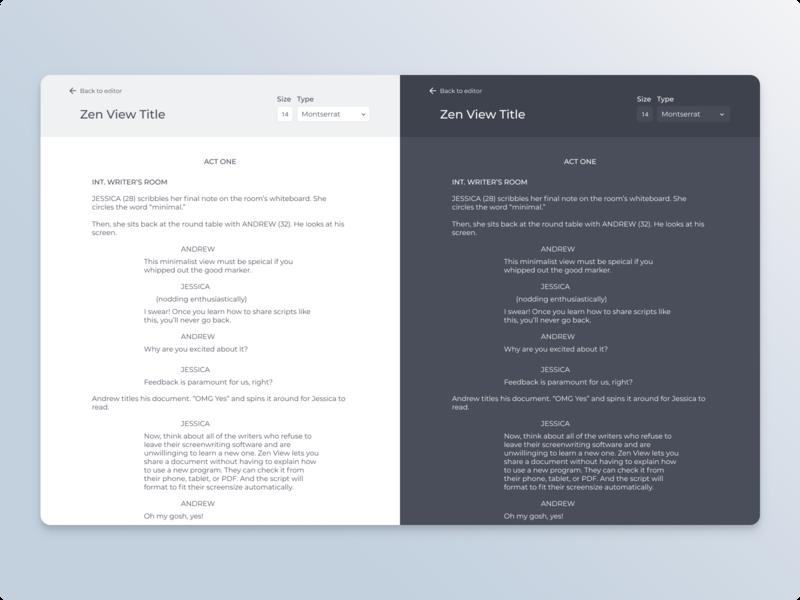 Zen View Editor screenwriting document ux design ux light ui writing app minimal design minimal ui design