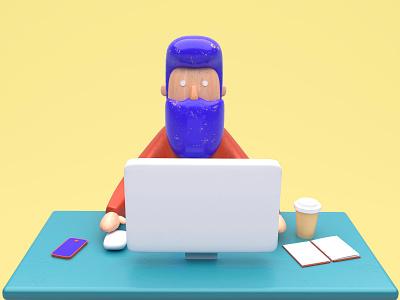 Toy worker work render illustration hipster design cinema4d character cg 3d