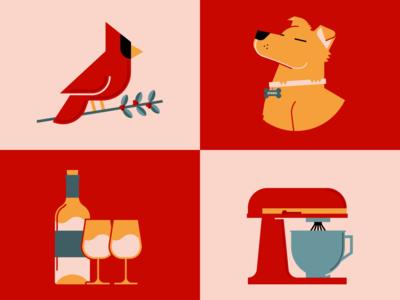 My Escape baking wine dogs cardinals quarantine adobe vector illustration graphicdesign design adobe illustrator