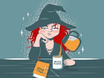 Quarantine Is A Witch quarantine coffee people illustration character halloween spooky witch adobe vector illustration graphicdesign design adobe illustrator