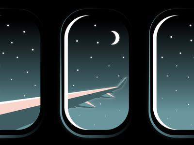 Quarantine Wishful Thinking airplane night sky night plane window plane quarantine adobe vector illustration graphicdesign design adobe illustrator
