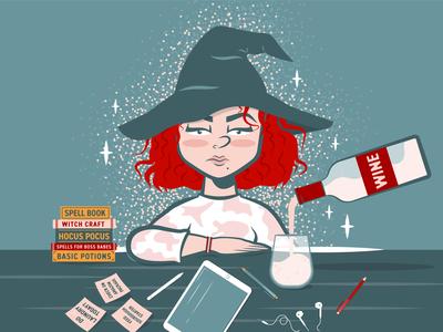 Wine Witch wine witch quarantine adobe vector illustration graphicdesign adobe illustrator design