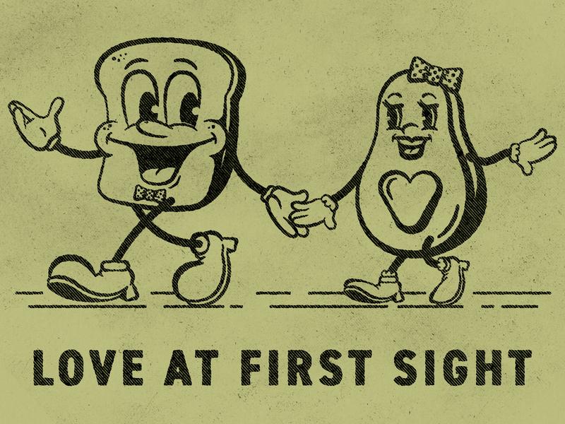 Avocado Toast Love cartoons food illustration 1920s vintage adobe vector illustration graphicdesign design adobe illustrator