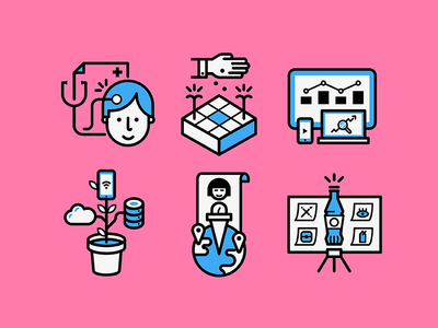 Startups and business colorful student degree university growth startups business line icons