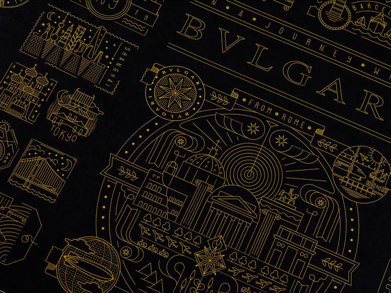 On a Journey with BVLGARI modern minimal geometric detailed art line illustration vector travel luxury fashion bulgari