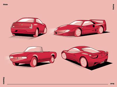 Pininfarina Design Classics illustration vector romeo pininfarina pinin peugeot line italian gtv ferrari farina f40 design car automotive alfa 504 488