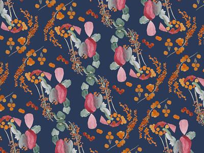 pattern floral  - dark abstract berry flowers pattern art wallpaper textile design pattern design pattern a day pattern botanical illustration botanical flower illustration contrast design vector digital illustration digital art illustration drawing