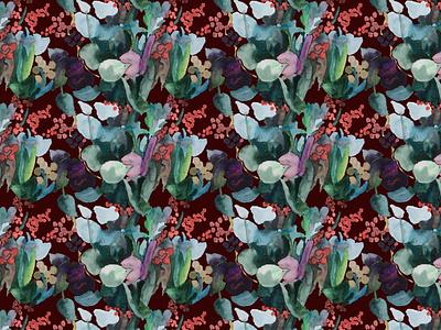 flower pattern - dark red wallpaper app wallpaper red green pattern art pattern design pattern a day flower pattern flower illustration digital illustration illustration digital art drawing