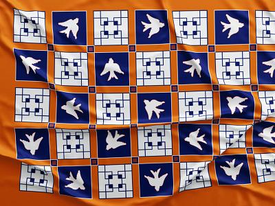 scarf pattern design bird illustration bird design contrast vector fabric scarf squares blue orange geometric pattern art pattern design pattern a day pattern illustration drawing