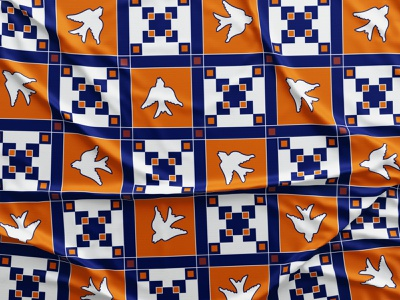 orange + blue geometric scarf blue orange bird geometrical type geometrical geometry clothing design clothing pattern art pattern pattern design pattern a day design vector digital illustration digital art illustration drawing