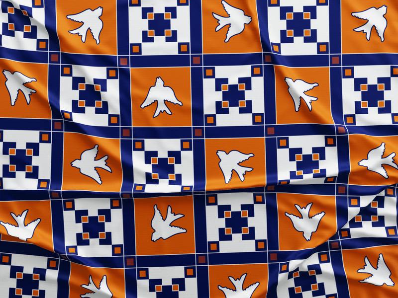 orange + blue geometric scarf
