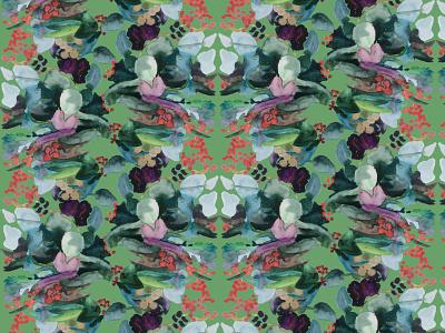 symmetrical flower pattern wallpaper design wallpaper contrast red green pattern art botanical illustration digital illustration botanical pattern design pattern a day flower illustration pattern illustration drawing