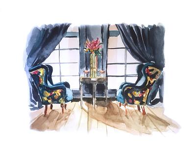interior n4 interior design rich soft curtain pattern digital drawing armchair sofa light window flower illustration drawing illustration watercolour illustration watercolour architecture furniture interior illustration interior