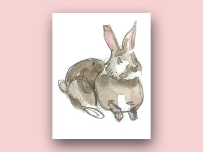 rabbit (from a forest animals series) pink cute watercolor watercolour motif pattern a day contrast rabbits rabbit forest animals forest pattern digital illustration digital art illustration drawing