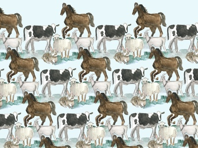domestic animals pattern for kids watercolor watercolour goat sheep cow children illustration children pattern for kids farm animals farm animals animal pattern design pattern a day pattern domestic digital illustration digital art illustration drawing