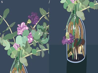 Flower Season 5/5 - details carnation eucalyptus digital illustration poster poster art design vector digital art illustration drawing