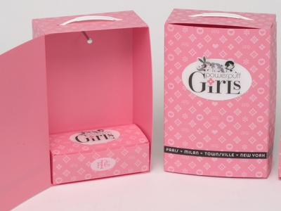 Custom Pink Closet Box Marketing Kit by Sneller sneller creative promotions promotional packaging promotion presentation packaging packaging marketing made in usa custom packaging branding advertising