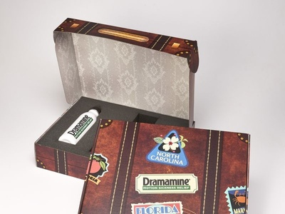 Dramamine Custom Suitcase Marketing Kit Box  by Sneller