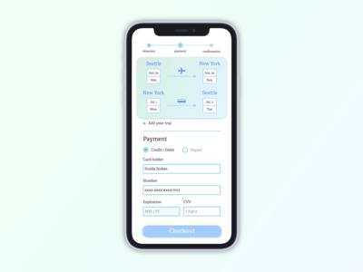 Trip App Credit Card Confirmation