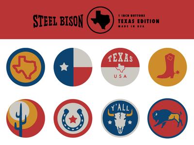 Steel Bison Button Pack 3 - TEXAS