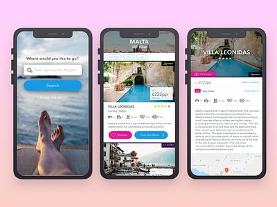 Villa Rental App villa travel concept android mobile design ios