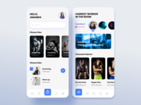 Fitness App iosinspiration interface appdesign interaction inspiration adobexd blue and white blue minimal clean ui uiux workout tracker fitness app personal trainer