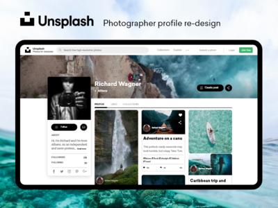 Unsplash Profile redesign