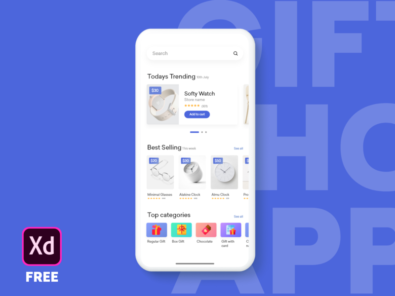 Gift shop app home page free download freebie shopping giftshop ux userinterface userexperience uitrends uidesign ui minimal iosinspiration interface interaction inspiration graphic dribbblers design appdesign adobexd