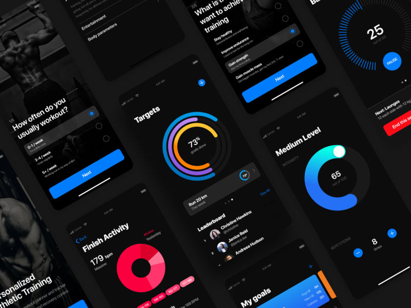Fitness personal trainer and tracker app dark interface dark ui free ui photos ui uitrends interaction userinterface userexperience iosinspiration dribbblers design uidesign appdesign ux minimal inspiration interface wireframe adobexd