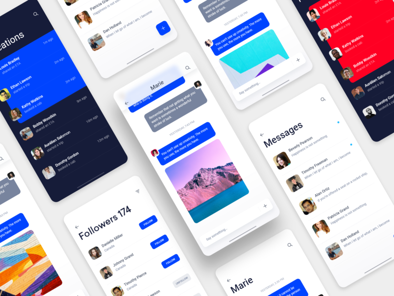 Messaging app for iOS chat and follow free ui photos ui uitrends interaction userinterface userexperience iosinspiration dribbblers uxdesignmastery design uidesign appdesign ux minimal inspiration interface wireframe adobexd freebie