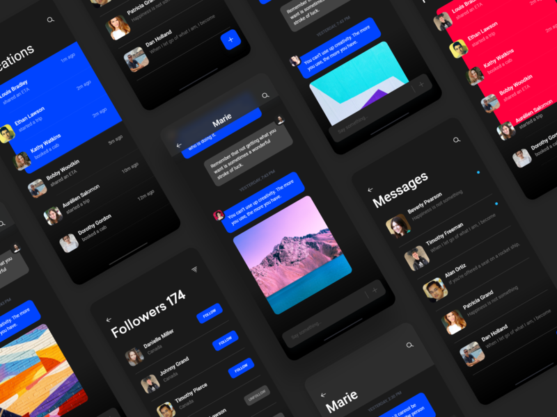 Messaging app for iOS chat and follow freebie adobexd wireframe interface inspiration minimal ux appdesign uidesign design uxdesignmastery dribbblers iosinspiration userexperience userinterface interaction uitrends ui photos free ui