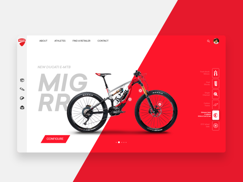 Ducati E Bicycle adventure landing page ducati bicycle product page prooduct free ui photos ui uitrends interaction userinterface design uidesign appdesign ux minimal inspiration adobexd freebie
