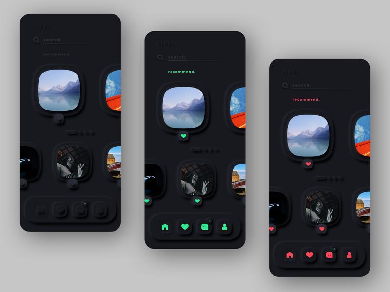 clay. neumorphism UI design project